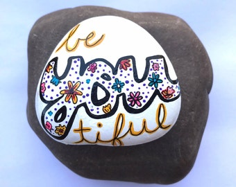 hand painted rock, magnet, fridge magnet, painted stone, beautiful, kitchen decor, flowers, spring