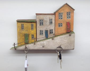 A3  Little wood houses key rack - wooden houses - wood house plaque - wood house key hooks - wood house wall hanging