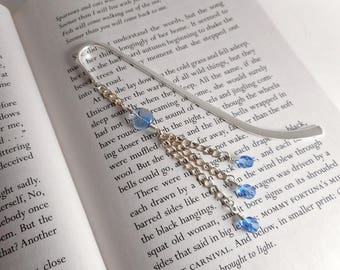 Blue Beaded Silver-plated Bookmark, 5 inch