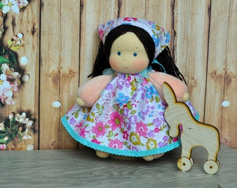"""Waldorf baby doll for kids Strawberries 7,87"""" (20 cm) READY TO SHIP"""