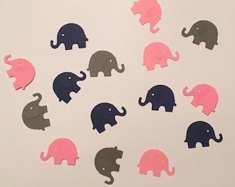 225 Navy Pink Gray Elephant Confetti Elephant Confetti Baby Confetti Baby Shower Confetti Birthday Confetti Animal Pink Navy Gray Party