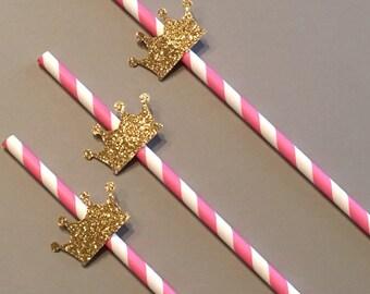 12 Glitter Crown Straws Pink Gold Straws Pink Silver Straws Shower Straws Birthday Straws Baby Straws Bachelorette Straws