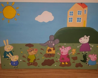Peppa pig and friends acrylic painting.
