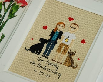Custom family portrait Cross Stitch 3 year anniversary Linen Cotton Paper anniversary gift Family portrait Hoop art Pixel people