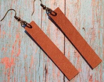 Joanna Gaines inspired tan leather earrings, cowboy tan leather dangle earrings, cowboy tan leather earrings