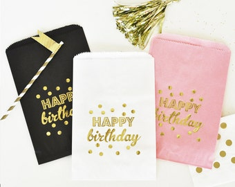 12 Happy Birthday Gold Foil Candy Buffet Bags   birthday party   goodie bags   gold foil   birthday decorations   pink   black   white