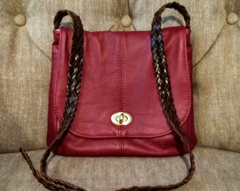 Red Leather Concealed Carry Bag Crossbody Handbag Purse
