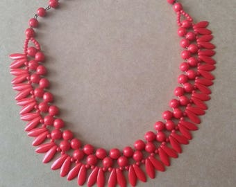 Genuine Vintage C1950s Red Glass Bead Necklace