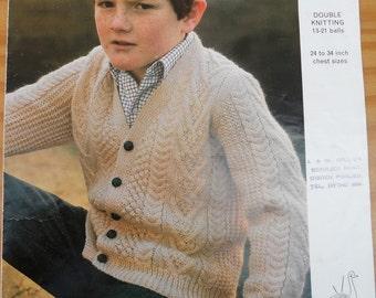Vintage knitting pattern by Emu for a boys v-neck cable cardigan