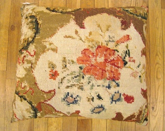 """Vintage Decorative English Needlepoint Pillow, with Terracotta Linen Backing, size 22"""" x 20"""" (1'10"""" x 1'8"""")"""
