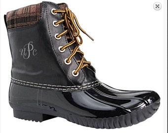 Monogrammed -  Duck Boots with Plaid Accent - BIG KIDS 3.5