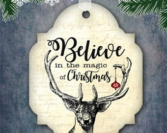 Christmas gift tag No2,Believe in the magic,Vintage Christmas tag Printable Gift Tags,Hobby crafting,Digital collage sheet Instant Download