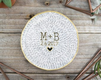 Initials & Date Magazine Ring Dish | Engagement Gift | Catchall | Custom Name | Trinket Dish | Ring Holder | Bridesmaid Gift | Jewelry Dish