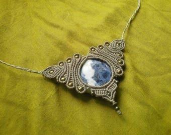 Macrame necklace sodalite necklace sale