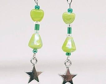 Green Star Heart Iridescent dangle earrings
