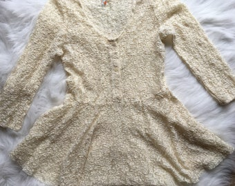 Free People White/Cream Lace Dress Top