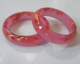 Pink Resin Ring!  Soft pink Resin Stacking Ring with Copper Flakes embedded throughout!  Makes a nice eco gift choice!  Trendy fashion ring!