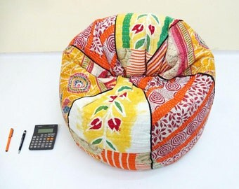 handmade cotton kantha quiltu0027s cut peice floral kids bean bag chair living room round bohemian decorative embroidered gypsy ottoman pouf - Childrens Bean Bag Chairs