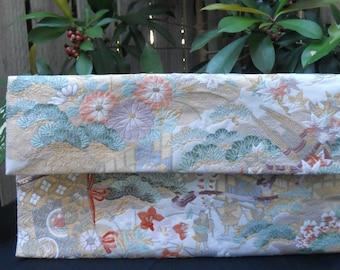 Vintage Japanese Silk Fukuro Obi Clutch Purse