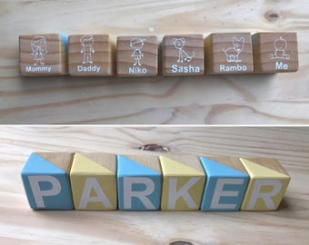 Blocks and Decor/Double sided/nursery/ Personalized