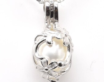 925 sterling silver pendant , freshwater pearl pendant, white pearl cage pendant, wish cage pendant necklace, 7-8mm, F3005-P