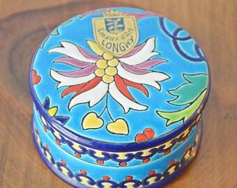 Longwy Trinket Box, Emaux d'Art Longwy, Vintage Trinket Box, Collectible Trinket Box