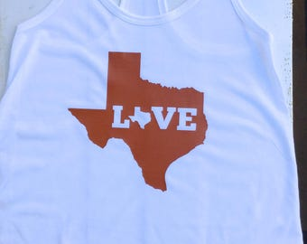 Ladies Texas Love White Tank Top in UT Colors Size XS (0-2)