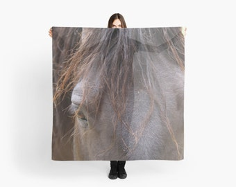 Horse Scarf ~ Equine Gift for Her ~ Sheer Brown Scarf ~ Horse Lover Gift ~ Horse Photo Scarf ~ Animal Scarf ~ Horse Photography ~ Grey Gray