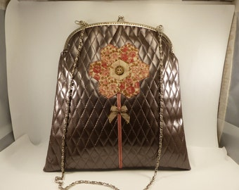 taupe faux leather evening bag with diamonds / / patchwork flower / / liberty / / satin bow