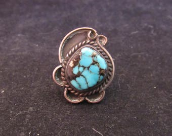 Wonderful Sterling Silver Turquoise Silver Flecks Native Southwest Style Size 6 Ring (E749)