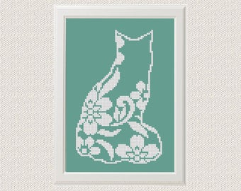 Flower cat Cross Stitch printable pdf pattern, Cat Pattern, floral cat silhouette, Modern Cross Stitch Animal Cross Stitch pattern funny