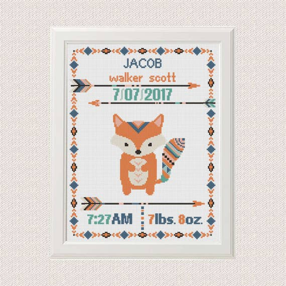 Cross Stitch Birth Announcement Fox Cross Stitch Pattern Boho