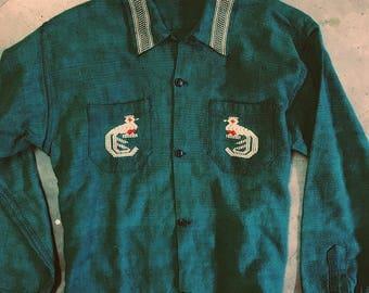 Take Me To Ortega's - Vintage Embroirdered Southwestern Button Down