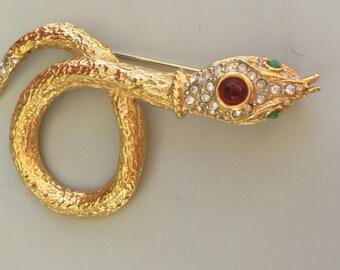 Unique Vintage Snake Brooch