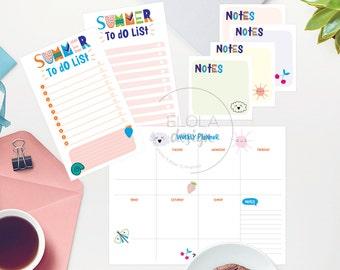 Summer Planner Kit Printable: A4  Weekly Planner, planner kit, college planner, Printable ToDo List,  Organiser Paper, Papergoods