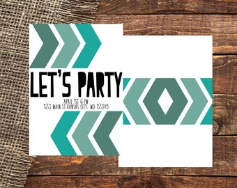 ARROWS | Chevron Arrow | Chevron Arrows | Chevron | Arrows | Just Because Invitation | Let's Party | Let's Party Invitation