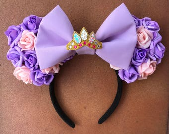 Disney Tangled Rapunzel Crown Floral Minnie Mouse Ears