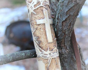 "Hand carved walking stick with ""Crown of Thorns and Cross"", a GT Originals design."