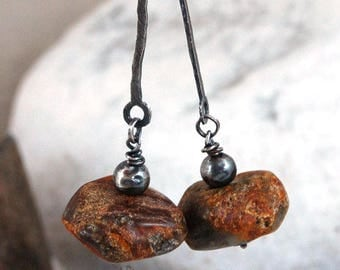 SALE 15% off !! - use the coupon code: SALE15 amber long earrings, raw amber silver earrings, unpolished amber