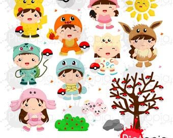 Kids in Cute Monster Costume Solid Color Digital Clipart for Personal Use / INSTANT DOWNLOAD - Voucher code buy1get1