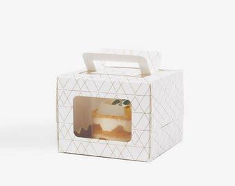 5 mini geo pattern cake boxes,box with window, gable boxes with window white cake box, boxes with window,white gift box, small cake boxes
