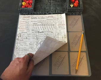 Painted Dice Tray / Character Sheet / Loot Holder Dungeons and Dragons, DnD, Pathfinder, RPG, Massive Darkness, Kingdom Death Monster