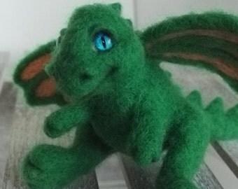 Joe - dragon. Wool needle felted toy. Genuine sheep wool sculpture. Personalised gift.