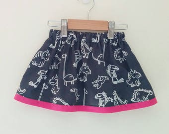 grey monochrome cartoon dinosaur skirt with pink contrast trim *MADE TO ORDER*