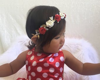 Red and white flower crown, Gold, White and Red Flower Crown