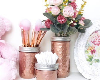 Rose gold makeup brush holder, copper desk accessories, metallic ball Mason Jar, desk tidy, makeup storage, vase, rose gold home decor