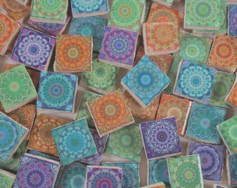 Ceramic Mosaic Tiles - Moroccan Tile Design Moroccan Medallions Mosaic Tile 100 Pieces - For Mosaic Art / Mixed Media Art/Jewelry