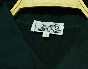 Hermes Italy Polos Shirt Men's S Authentic Embroidered Green Cotton Vtg