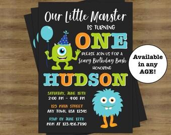 Little Monster 1st Birthday Invitation; Monster Invitations; Monster First Birthday Invitation; Little Monster Birthday Invitations