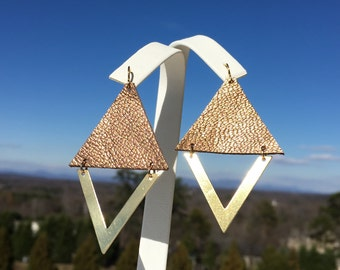 SALE/ Metallic Leather/ Brass Triangle/ Bronze Leather/ Triangle Earrings/ Leather Earrings